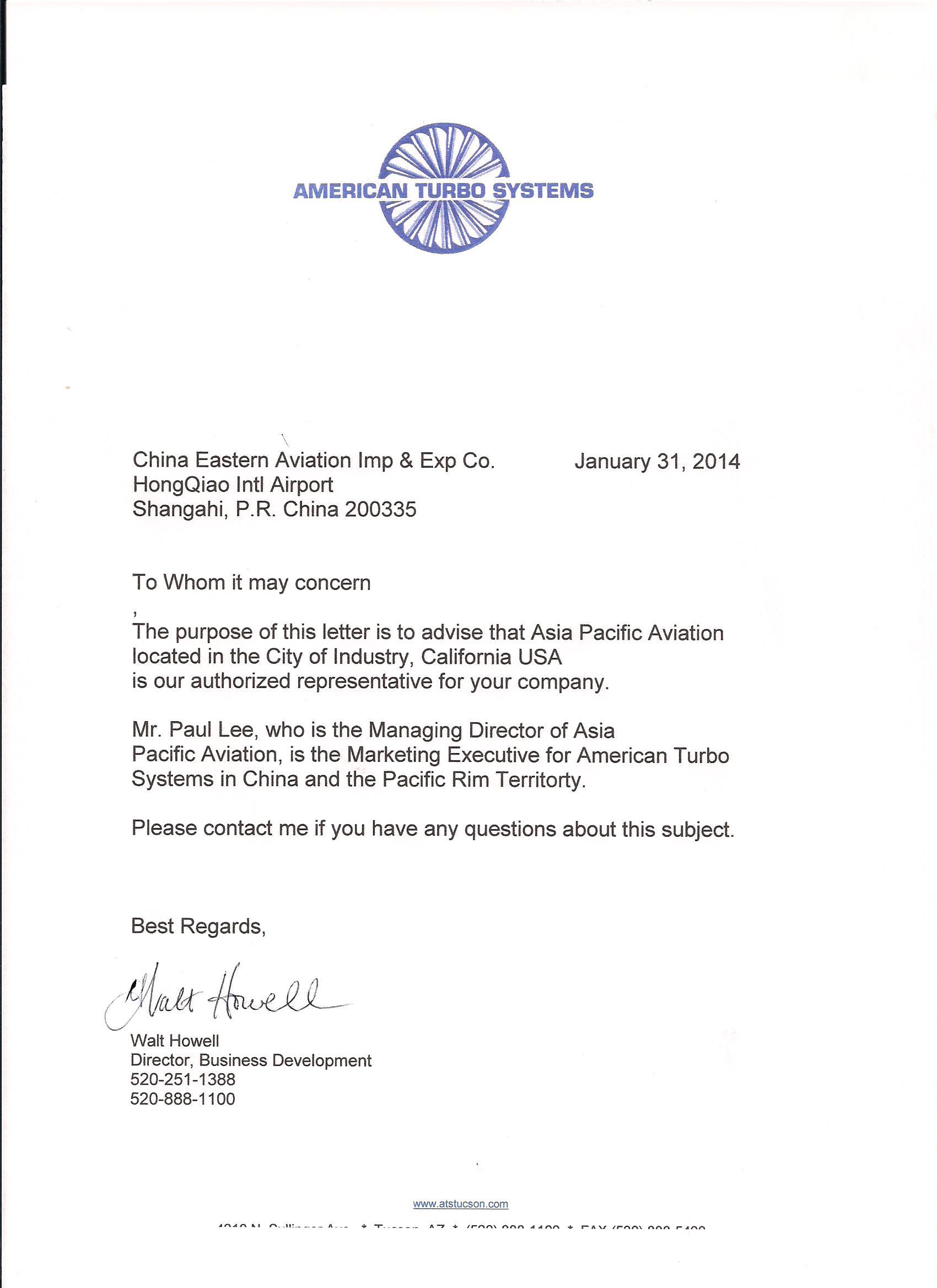 Authorized representative letter limarinemania authorized representative letter altavistaventures Images